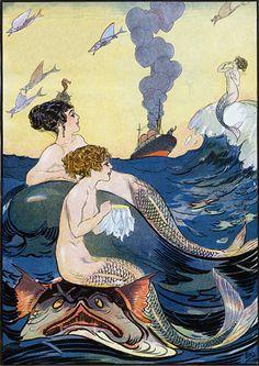Mermaids relaxing at sea. 1911 http://www.vintagevenus.com.au/vintage/reprints/info/MISC276.htm