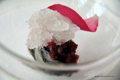 "Ostrica, diaframma e granita all'acqua di rose. Ristorante ""Trussardi alla Scala"" Chef, Menu, Ice Cream, Desserts, Food, Gastronomia, Gourmet, Menu Board Design, No Churn Ice Cream"
