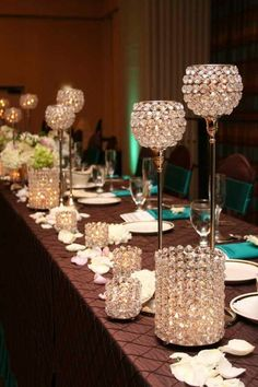 Chocolate Brown tablescape with crystal accents