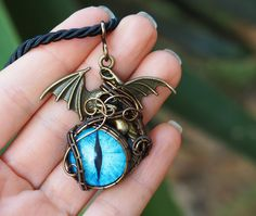 Blue dragon eye pendant necklace/gifts under 40/for him/for her/girlfriend/mens gift/Christmas gift/New year's gift for brother daughter by Ianira on Etsy