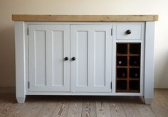 Complete with solid pine wine rack, this kitchen base unit would make an excellent island. Solid Pine, Solid Wood, Kitchen Base Units, Freestanding Kitchen, Kitchen Islands, Country Kitchen, Wine Rack, Project Ideas, Kitchen Ideas