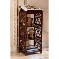 "XoticBrands 44"" 18th Century Hand-crafted Antique Replica Gothic Wooden Decorative Bookstand : Shelves and Etageres"