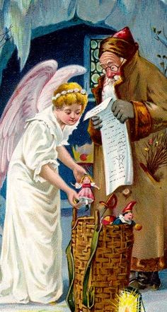 ️Antique Postcard..angel checking toys in basket.