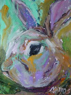 RESERVED SOLD Original Abstract Painting Rabbit by BellaCosaArt