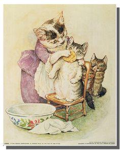 The Tale of Tom Kitten Beatrix Potter Kids Room Art Print Poster Beatrix Potter Illustrations, Beatrice Potter, Peter Rabbit And Friends, Mother Cat, Poster Prints, Art Prints, Photos Voyages, Kids Room Art, Zootopia