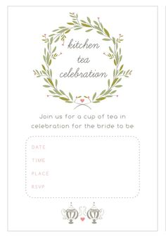 13 Bridal Shower Templates That You Won't Believe Are Free: Kitchen Tea Bridal Shower Invitations from The Pretty Blog