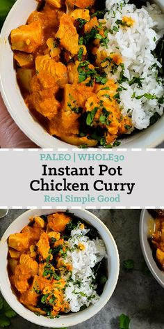 We love using our Instant Pot to create Paleo + Whole30 recipes, and we love easy dinner recipes that taste like you spent a lot more time and effort than you really did. This Paleo + Whole30 Instant Pot chicken curry is super tasty and a great make ahead meal or also a fantastic quick weeknight dinner! | realsimplegood.com #instantpot #paleo #whole30 #easydinner via @realsimplegood