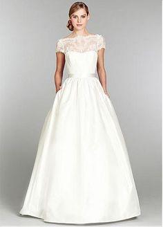 Charming Lace & Taffeta & Satin A-line Bateau Neckline Wedding Dress