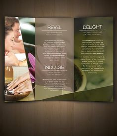 Nav Spa Brochure by Amanda Cohen, via Behance Spa Design, Salon Design, Spa Massage, Massage Therapy, Spa Brochure, Business Brochure, Business Cards, Advertisement Examples, Advertising