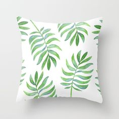 Tropical Palm Leaf Couch Throw Pillow by Kristen Laczi - Cover x with pillow insert - Indoor Pillow Cute Pillows, Diy Pillows, Decorative Throw Pillows, Cushion Embroidery, Tropical Bedrooms, Cushion Cover Designs, Throw Cushions, Paint Designs, Dorm Decorations