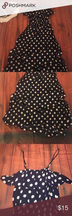 Navy blue white polka dot ruffle dress XS Xhilaration Navy blue white polka dot ruffle dress XS high low style, spaghetti straps, elastic waist and an a ruffle at the neckline it goes around the entire dress. Cute! Xhilaration Dresses Midi