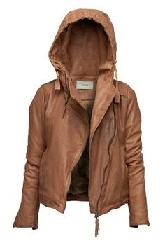 Brown hooded leather warm jacket. . . to see more click on pic