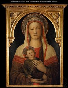 Madonna and Child 1450 - Jacopo Bellini.  The Virgin wears a white veil, but with bright red trim, so I have included it here.