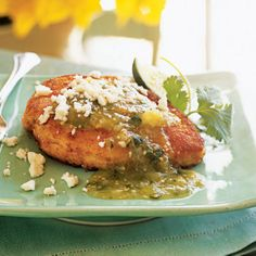 Chicken Breasts with Tomatillo Salsa and Queso Fresco - 100 Easy Chicken Recipes - Cooking Light
