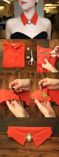 Collar tutorial мода sewing clothes, diy accessories и fabric jewelry. Sewing Hacks, Sewing Tutorials, Sewing Patterns, Diy Clothing, Sewing Clothes, Recycled Clothing, Recycled Fashion, Diy Fashion, Fashion Design