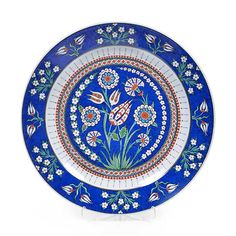 Iznik plate with flowering plants tulips and carnations with straight edge. V&A Museum collection of Iznik pottery from Turkey is the largest in the world. Plate Wall Decor, Plates On Wall, V & A Museum, Rug Texture, Turkish Tiles, Wonderful Flowers, Victoria And Albert Museum, Mandala Coloring, Bird Design