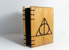 Harry Potter Journal    Deathly Hallows Wood Burned  Handbound Notebook  Wood Covered Journal   Wooden Notebook  Coptic Stitch Journal by BowtieAndTheBandit on Etsy