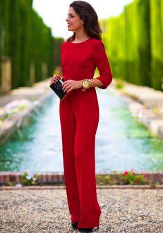 Combinaison découpé dos nu manches longues femme sexy élégantes rouge