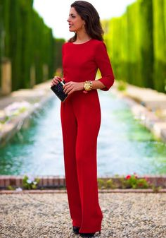 Red Plain Cut Out Backless 3/4 Sleeve Sexy Long Jumpsuit - Jumpsuit Pants - Bottoms