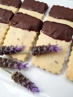 Lavender shortbread dipped in dark chocolate - serve with earl grey tea