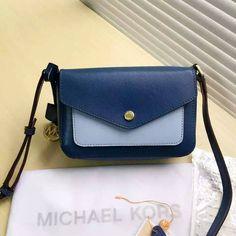 MICHAEL Michael Kors Greenwich Bi-Color Saffiano Leather Crossbody Bag Navy Blue