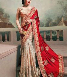 Buy red and chiku silk georgette and rassal net m n designer bollywood saree with blouse bridal-saree online
