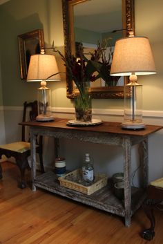 Custom built console from reclaimed wood by Landrum Tables in Charleston SC http://www.landrumtables.com