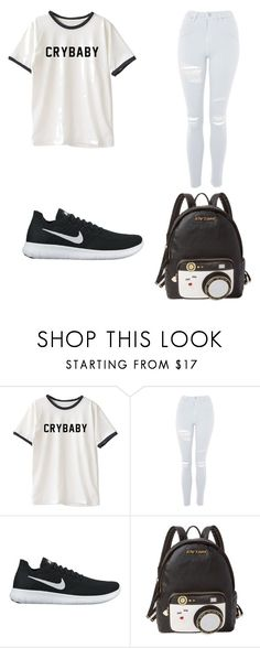 """Untitled #7"" by nesiv ❤ liked on Polyvore featuring Topshop, NIKE and Betsey Johnson"