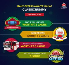 Many Offers Awaits you at Classic Rummy! Check out our majestic march offers and make the most of them #rummy #classicrummy #onlinerummy #Indianrummy #march #marchoffers #cardgames