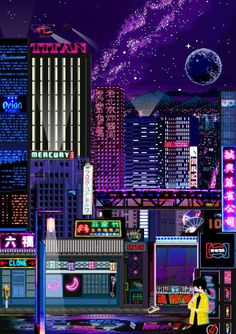 vaporwave pixel Pixel art city life neon pink blue lights retro look Art Cyberpunk, Cyberpunk Aesthetic, Aesthetic Japan, Neon Aesthetic, Aesthetic Anime, Art Vaporwave, Pixel City, Arte 8 Bits, Pixel Art Background