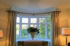 Window Seat Design, Bay Window Rod, Bay Window Curtain Poles, Curtains, Curved Curtain Rods Window, Bay Window Curtains Living Room, Hallway Designs, Bay Window Curtain Rod, Bay Window Curtains