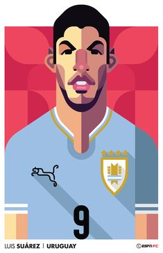 Very cool World Cup player portraits by top-class illustrator Daniel Nyari. Created for ESPN FC (for North and South American markets) they feature . World Cup Teams, Soccer World, Football Icon, Football Art, Rugby, Soccer Art, Liverpool, World Cup 2014, Portrait Illustration