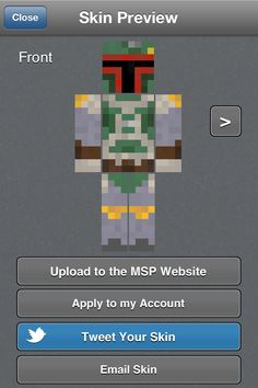 A Boba Fett skin I made on the Minecraft skin creator app.