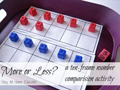 More or Less - a Ten Frame Number Comparison Activity