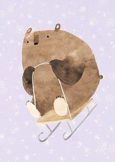 Risultati immagini per oksana bula illustration Art And Illustration, Christmas Illustration, Character Illustration, Animal Posters, Bear Art, Christmas Art, Animal Drawings, Character Design, Artwork