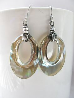 Large Swarovski Go-Go Bronze Crystal and Silver Earrings on Etsy, $31.00