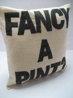 Fancy a Pint -  16in (41cm) sq appliqued pillow / cushion. $85.00, via Etsy.