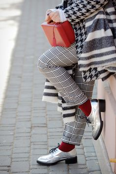 red socks, metallic shoes outfits, mark cross bags,