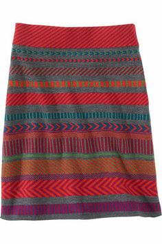 """Title Nine: Ziggy Sweater Skirt - Why let your tops have all the fun this winter? Our favorite ski sweater turned into a skirt and we couldn't be happier. Made from a soft, washable Merino wool knit. Pull-on with wide elastic waist. Slim fit. 19"""" long. Only @ T9. XS(2), S(4-6), M(6-8), L(10-12), XL(14)."""