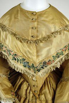 Dress Date: 1859 Culture: American Medium: silk; bodice detail.