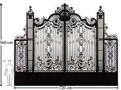 """A big french wrought iron driveway gate with two side doors for pedestrians Ca 1880  Material: Quantity:     heigth: 218.4 """" 560 cm   width: 280.8 """" 720 cm"""
