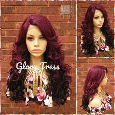 Curly Lace Front Wig, Ombre Burgundy Wig, Heat Safe, Glory Tress wig, READY To SHIP // SHINE Curly Half Wig, Curly Lace Front Wigs, Half Wigs, Human Wigs, 100 Human Hair, Pelo Color Borgoña, Ombre Burgundy, Flat Iron Curls, Afro Wigs