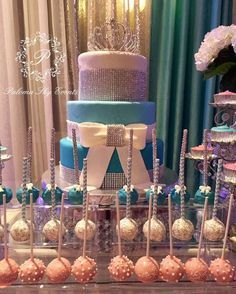 Elegant Sweet 16 Quinceañera birthday party cake and cake pops! See more party ideas at CatchMyParty.com!