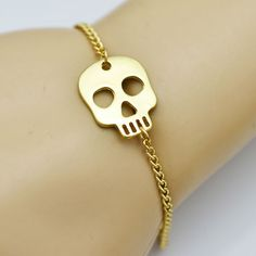 Check out our Gold skull bracelet at Kook Store, only £4.99! Check out the full range of kooky accessories & apparel at http://www.kookstore.co.uk   #funky #kooky #apparel #accessories #alternative #punk #fashion #odd #kitchen #homeware #gifts #giftideas