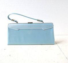 1950s pearlescent robin's egg blue handbag