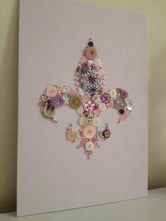 Pink & Lilac Fleur De Lis Flat Back Canvas Button Art  Unique 10x14in Handmade.