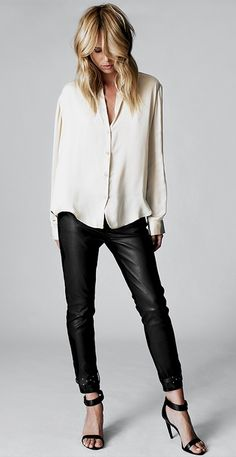 classic, chic, easy. white silk blouse + black leather