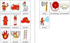 Dit woordweb in het thema brandweer kun je downloaden op de website van Juf Milou.