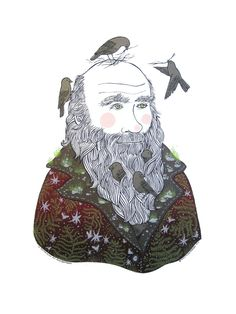 This is a 5 color hand screen printed poster of Charles Darwin and the Galapagos Finches. Finches make themselves comfortable in his beard and hair, while his coat sports delicate details of ferns, funghi, and silhouettes of orchids and moths.