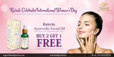 Women's day special offer on Kaircin Ayurvedic Facial Oil Buy 2 Get 1 FREE http://www.kairaliproducts.in/kaircin-10ml.html